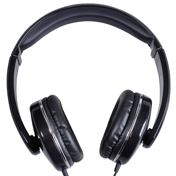Rich bass wired over ear stereo music headphone designed with the flat cord